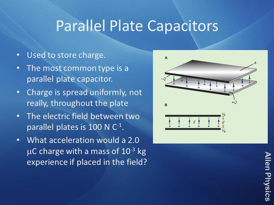 Parallel Plate Capacitors Used to store charge. The most common type is a parallel plate capacitor. Charge is spread uniformly, not really, throughout