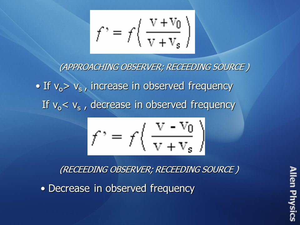 The ± signs correspond to the direction of the source or observer when they are moving relative to the other.