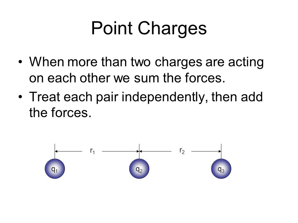 Point Charges When more than two charges are acting on each other we sum the forces. Treat each pair independently, then add the forces. q1q1 q2q2 q3q