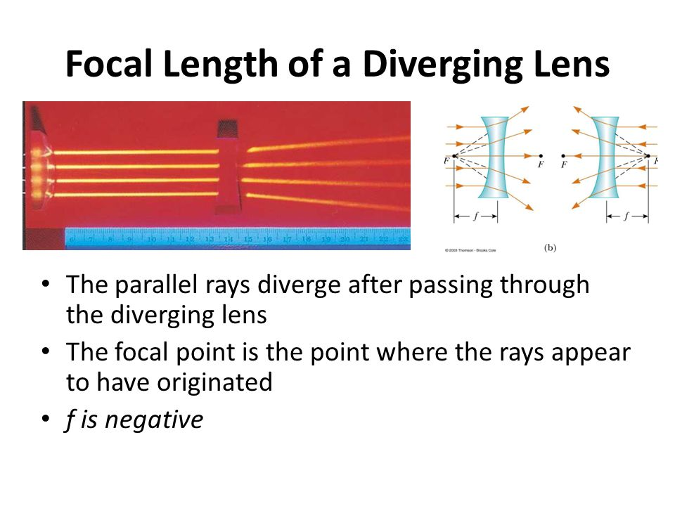 Focal Length of a Diverging Lens The parallel rays diverge after passing through the diverging lens The focal point is the point where the rays appear