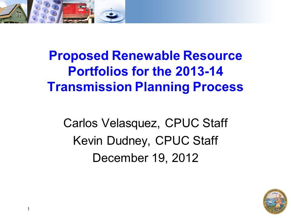 Outline Context for Portfolios Basics: 33% RPS Calculator Major updates Proposed portfolios 2