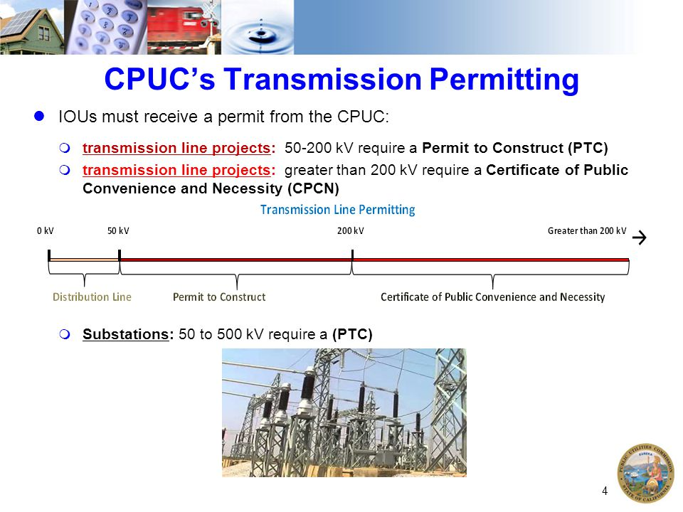CPUC's Transmission Permitting IOUs must receive a permit from the CPUC:  transmission line projects: 50-200 kV require a Permit to Construct (PTC) 