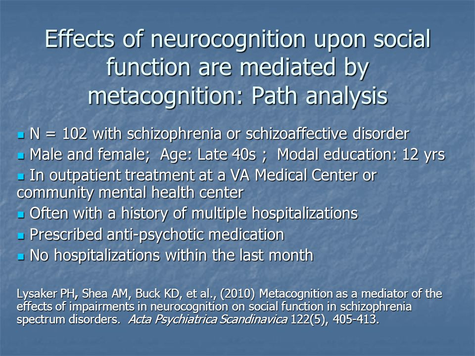 Effects of neurocognition upon social function are mediated by metacognition: Path analysis N = 102 with schizophrenia or schizoaffective disorder N = 102 with schizophrenia or schizoaffective disorder Male and female; Age: Late 40s ; Modal education: 12 yrs Male and female; Age: Late 40s ; Modal education: 12 yrs In outpatient treatment at a VA Medical Center or community mental health center In outpatient treatment at a VA Medical Center or community mental health center Often with a history of multiple hospitalizations Often with a history of multiple hospitalizations Prescribed anti-psychotic medication Prescribed anti-psychotic medication No hospitalizations within the last month No hospitalizations within the last month Lysaker PH, Shea AM, Buck KD, et al., (2010) Metacognition as a mediator of the effects of impairments in neurocognition on social function in schizophrenia spectrum disorders.