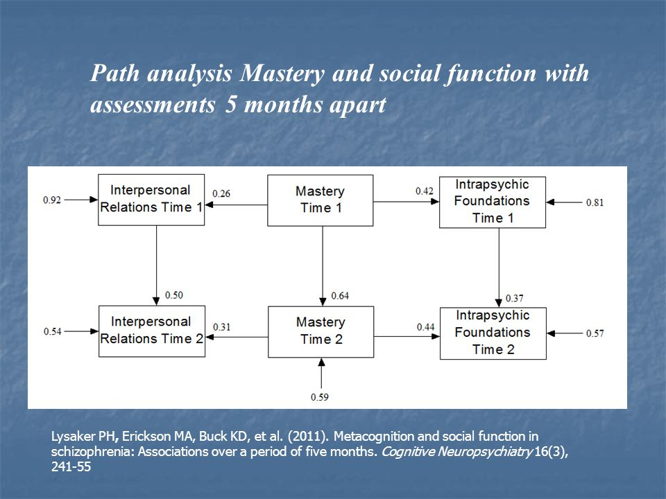 Path analysis Mastery and social function with assessments 5 months apart Lysaker PH, Erickson MA, Buck KD, et al.