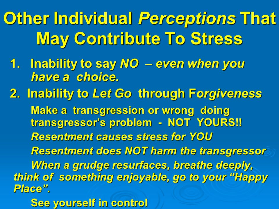 Other Individual Perceptions That May Contribute To Stress 1.