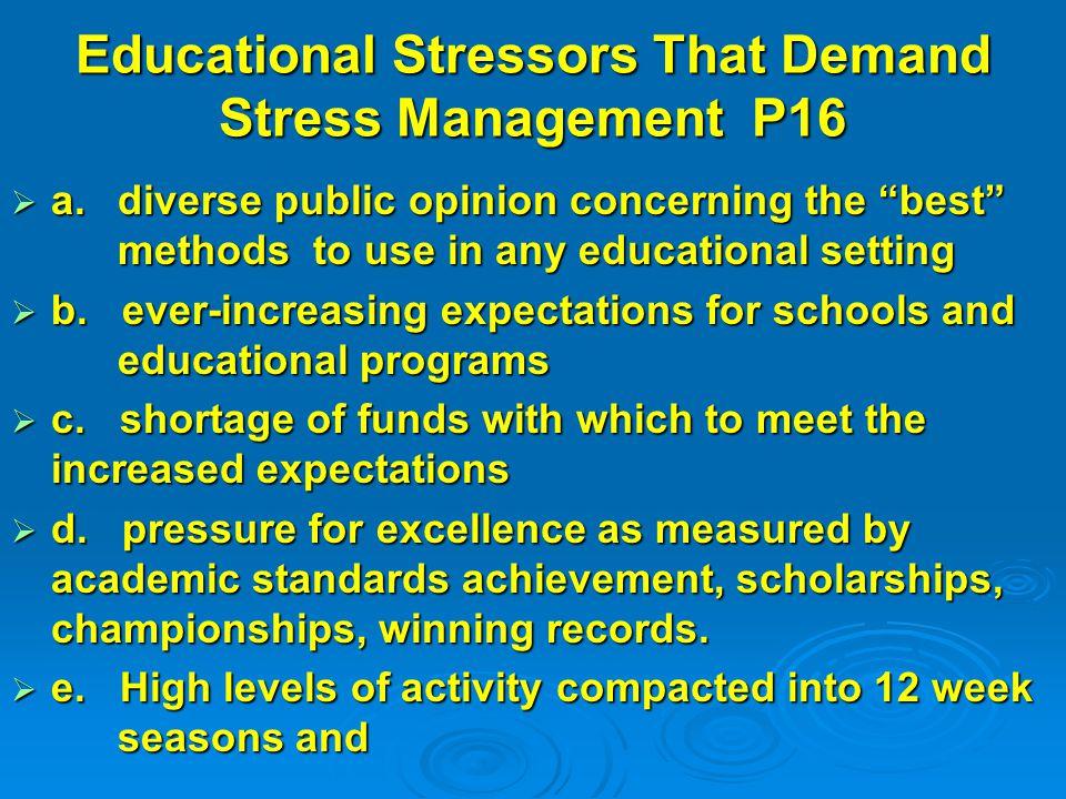 Educational Stressors That Demand Stress Management P16  a.