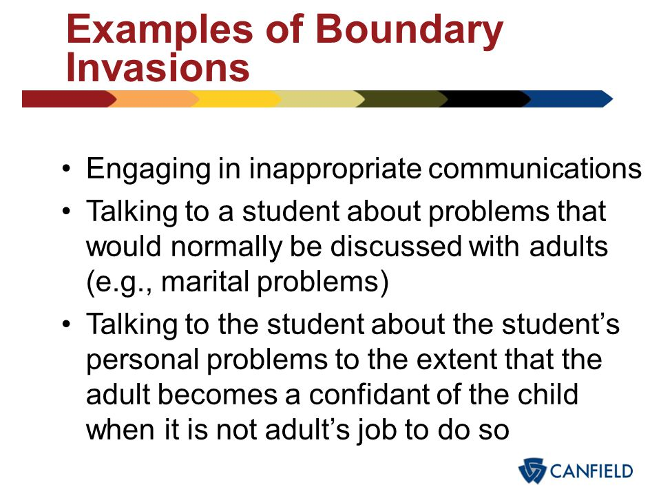 "Examples of Boundary Invasions Taking an undue interest in a student (i.e., having a ""special"" friend or a ""special relationship"" with a particular st"