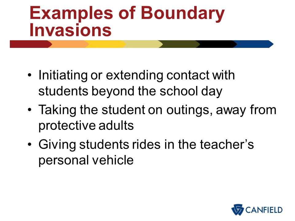 Examples of Boundary Invasions Invading the student's privacy (e.g., walking in on the student in the bathroom) Showing pornography to the student Hug