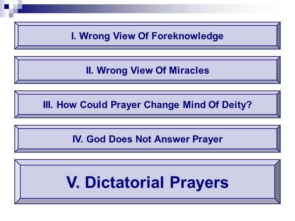 I. Wrong View Of Foreknowledge V. Dictatorial Prayers II. Wrong View Of Miracles III. How Could Prayer Change Mind Of Deity? IV. God Does Not Answer P