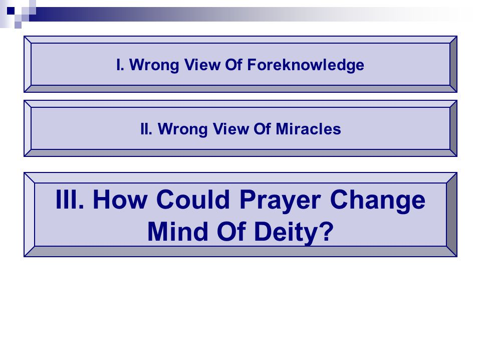 I. Wrong View Of Foreknowledge III. How Could Prayer Change Mind Of Deity? II. Wrong View Of Miracles