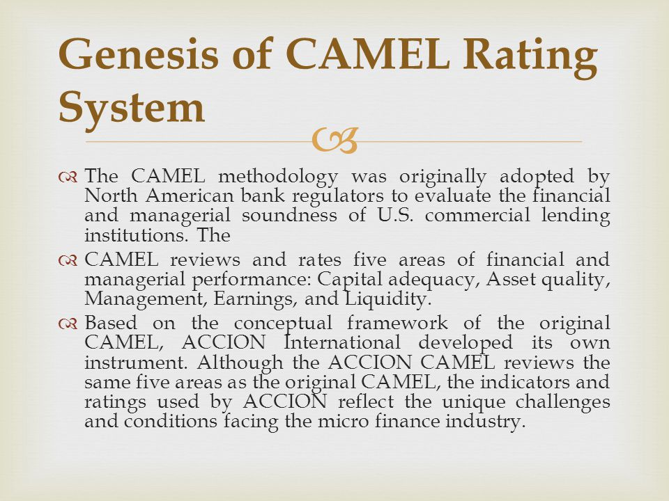   The CAMEL methodology was originally adopted by North American bank regulators to evaluate the financial and managerial soundness of U.S. commerci