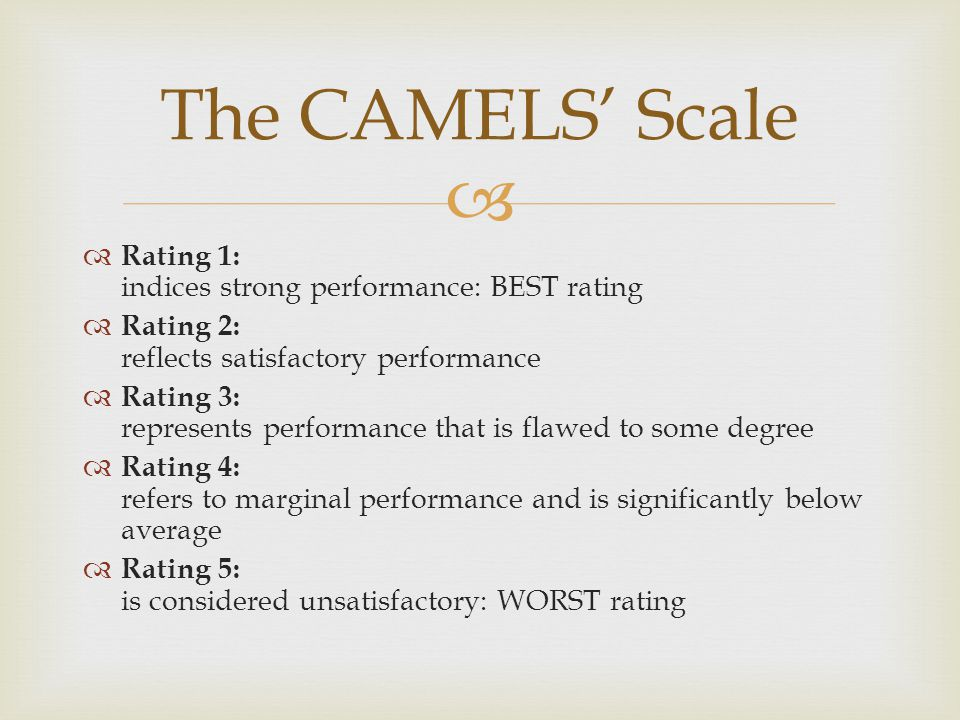   Rating 1: indices strong performance: BEST rating  Rating 2: reflects satisfactory performance  Rating 3: represents performance that is flawed
