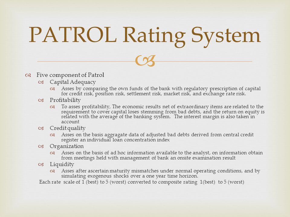  PATROL Rating System  Five component of Patrol  Capital Adequacy  Asses by comparing the own funds of the bank with regulatory prescription of ca
