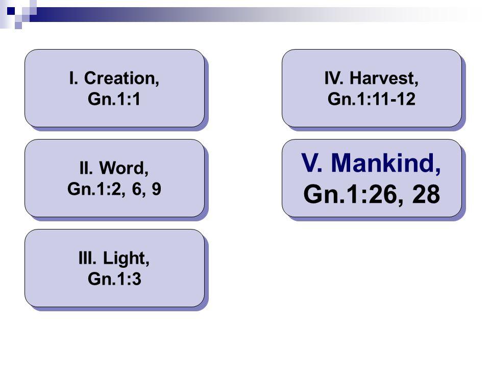 I. Creation, Gn.1:1 II. Word, Gn.1:2, 6, 9 III. Light, Gn.1:3 IV. Harvest, Gn.1:11-12 V. Mankind, Gn.1:26, 28