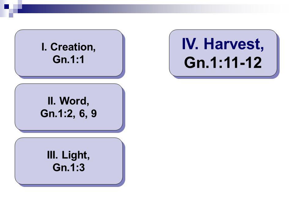 I. Creation, Gn.1:1 II. Word, Gn.1:2, 6, 9 III. Light, Gn.1:3 IV. Harvest, Gn.1:11-12