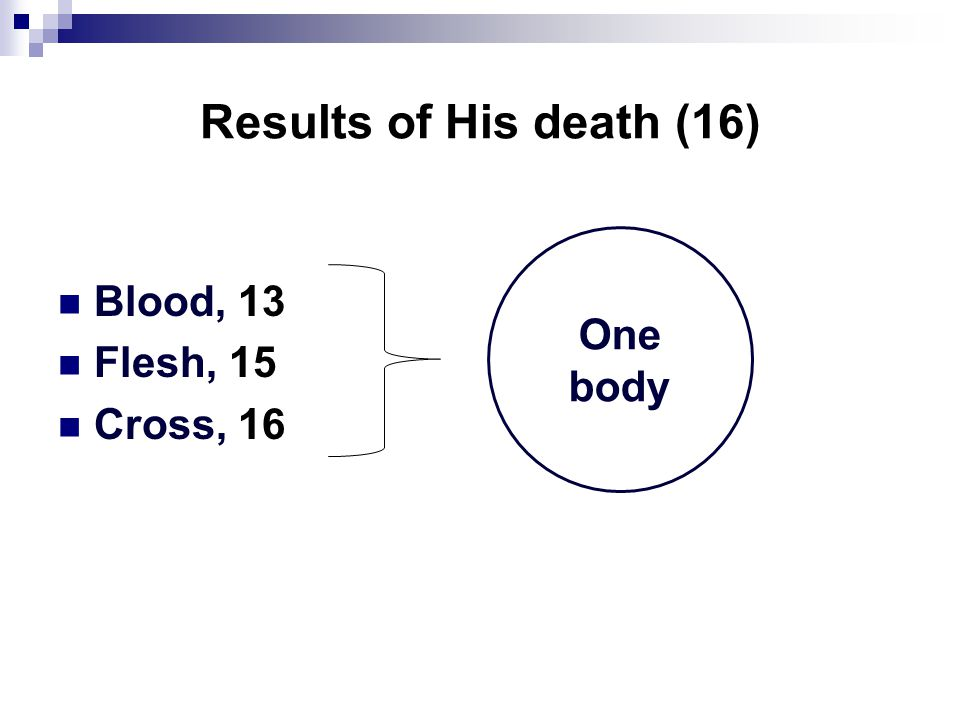 Results of His death (16) Blood, 13 Flesh, 15 Cross, 16 One body