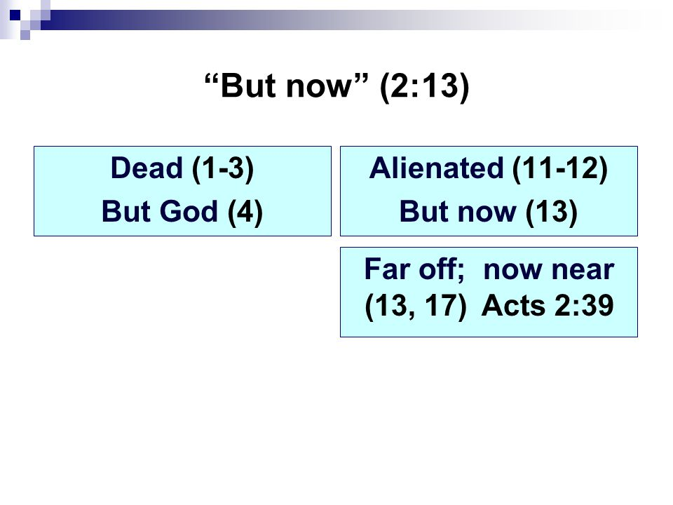 But now (2:13) Dead (1-3) But God (4) Alienated (11-12) But now (13) Far off; now near (13, 17) Acts 2:39