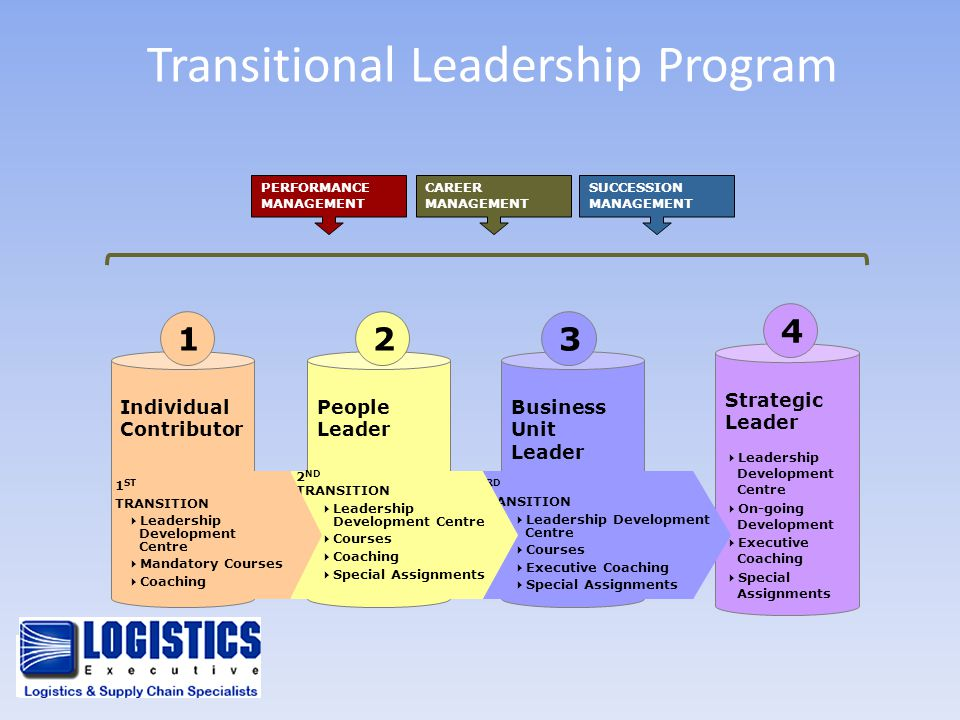 PERFORMANCE MANAGEMENT Transitional Leadership Program CAREER MANAGEMENT SUCCESSION MANAGEMENT Strategic Leader  Leadership Development Centre  On-g