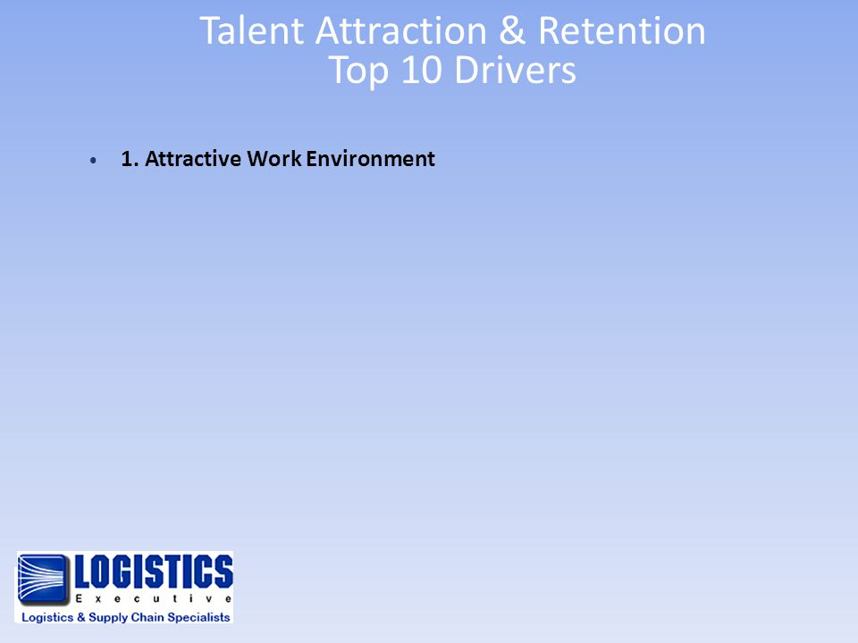 Talent Attraction & Retention Top 10 Drivers 1. Attractive Work Environment