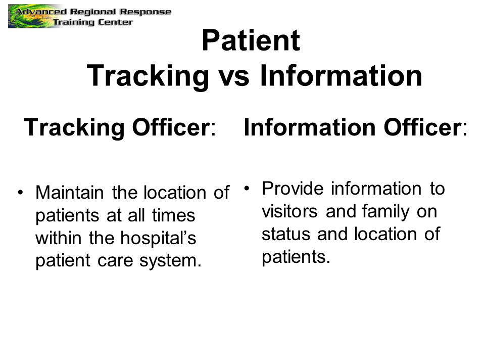 Patient Tracking vs Information Tracking Officer: Maintain the location of patients at all times within the hospital's patient care system. Informatio