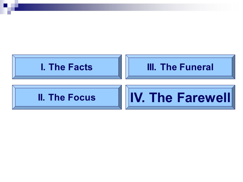 I. The Facts II. The Focus III. The Funeral IV. The Farewell