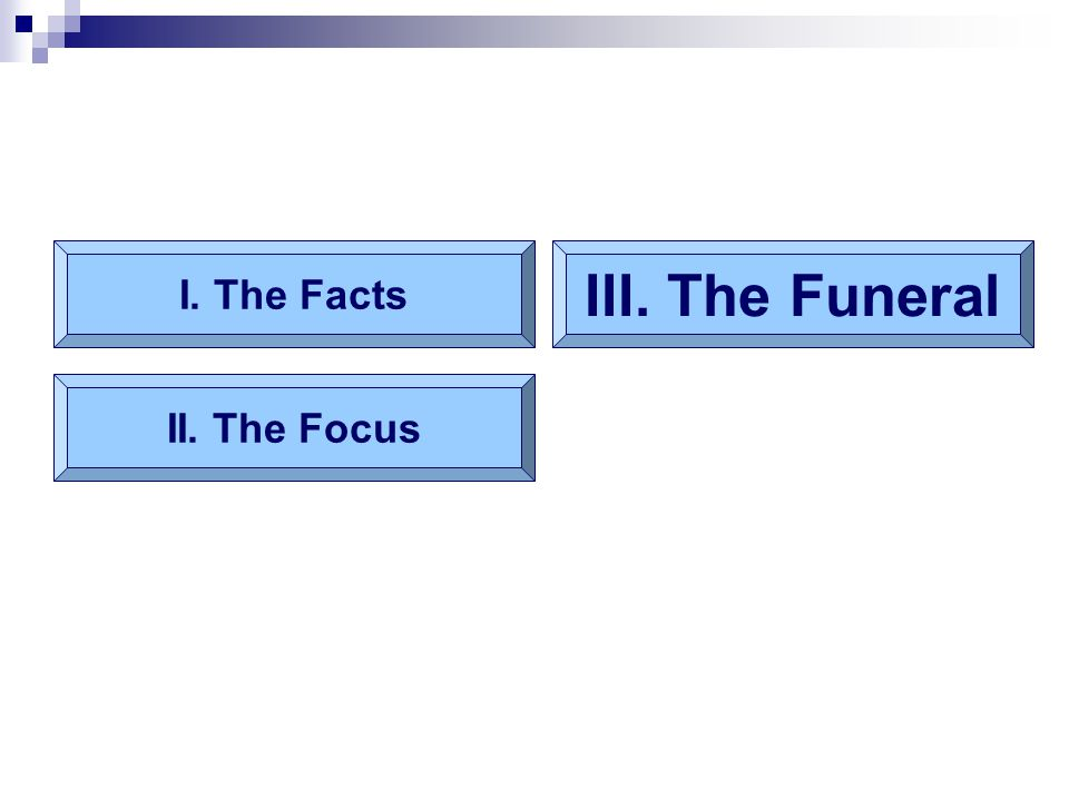 I. The Facts II. The Focus III. The Funeral
