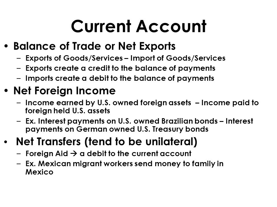 Current Account Balance of Trade or Net Exports – Exports of Goods/Services – Import of Goods/Services – Exports create a credit to the balance of pay