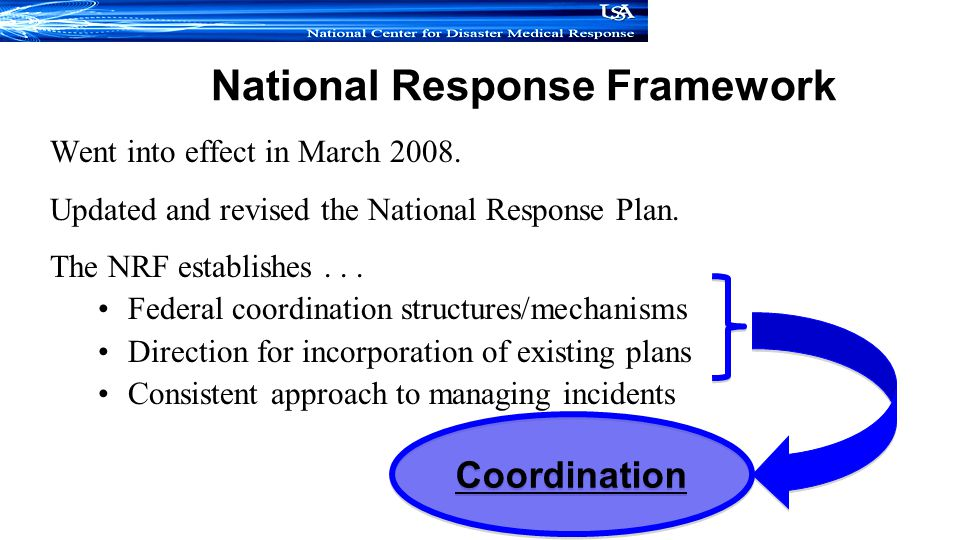 National Response Framework Went into effect in March 2008.