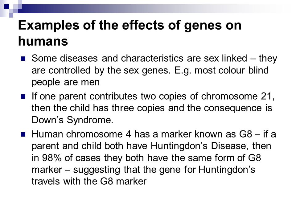 Examples of the effects of genes on humans Some diseases and characteristics are sex linked – they are controlled by the sex genes.