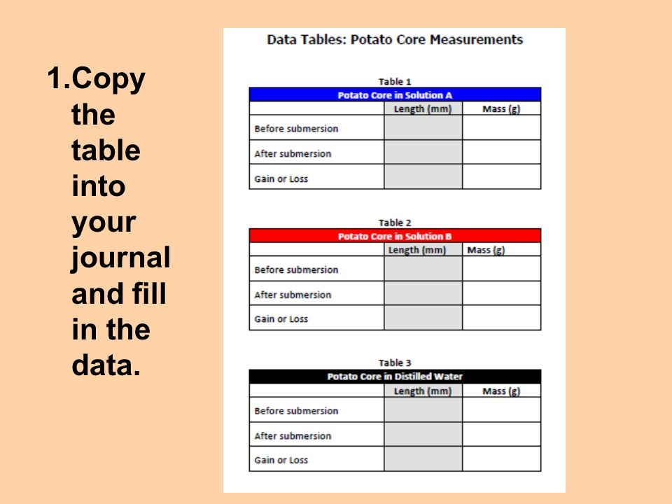 1.Copy the table into your journal and fill in the data.