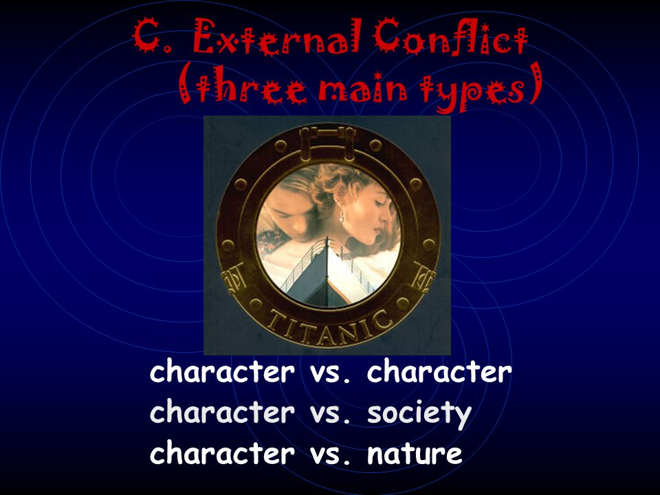 B. Internal Conflict 1. Character vs. Self 2. The protagonist in the story experiences conflict with her or his conscience, emotions, or reasoning.