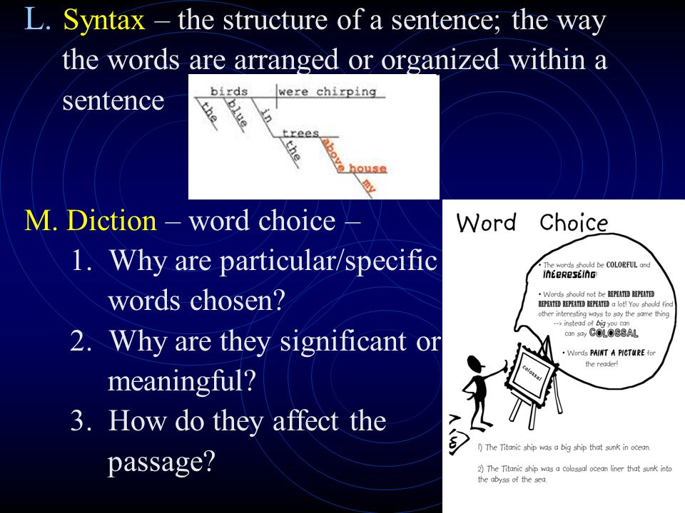 J. Style – the way an author writes (which may also reveal the author's personality, voice, perspective); style includes structure, syntax, diction, u