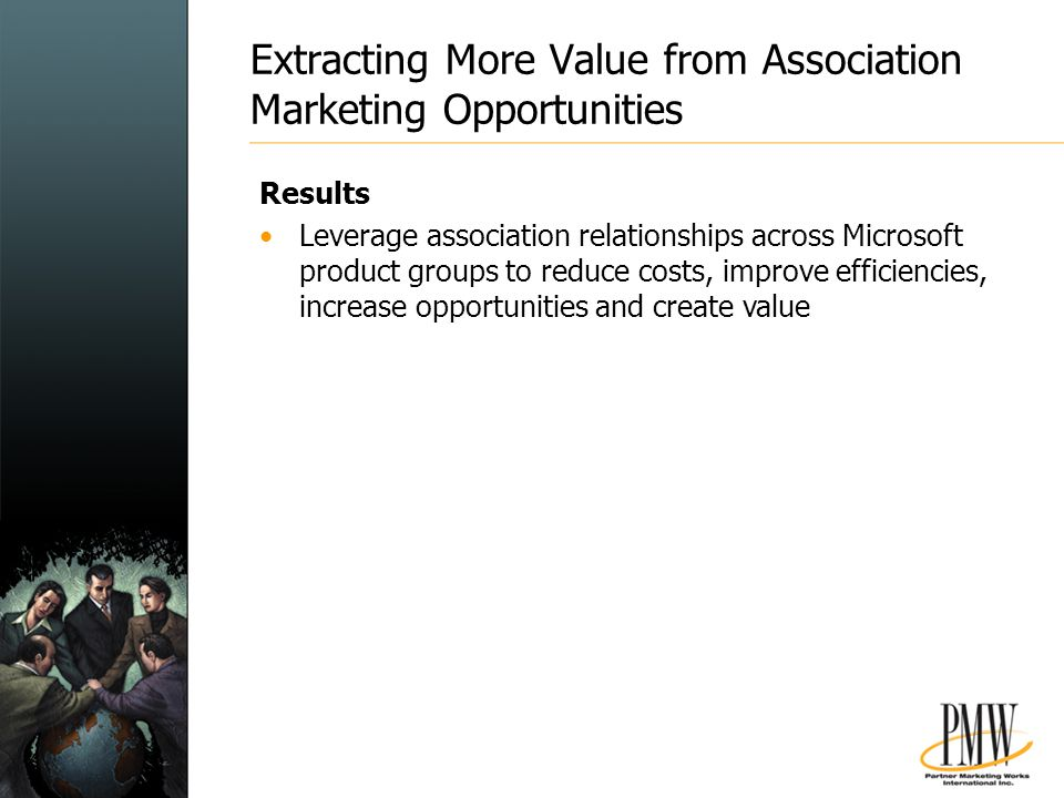 Extracting More Value from Association Marketing Opportunities Results Leverage association relationships across Microsoft product groups to reduce costs, improve efficiencies, increase opportunities and create value