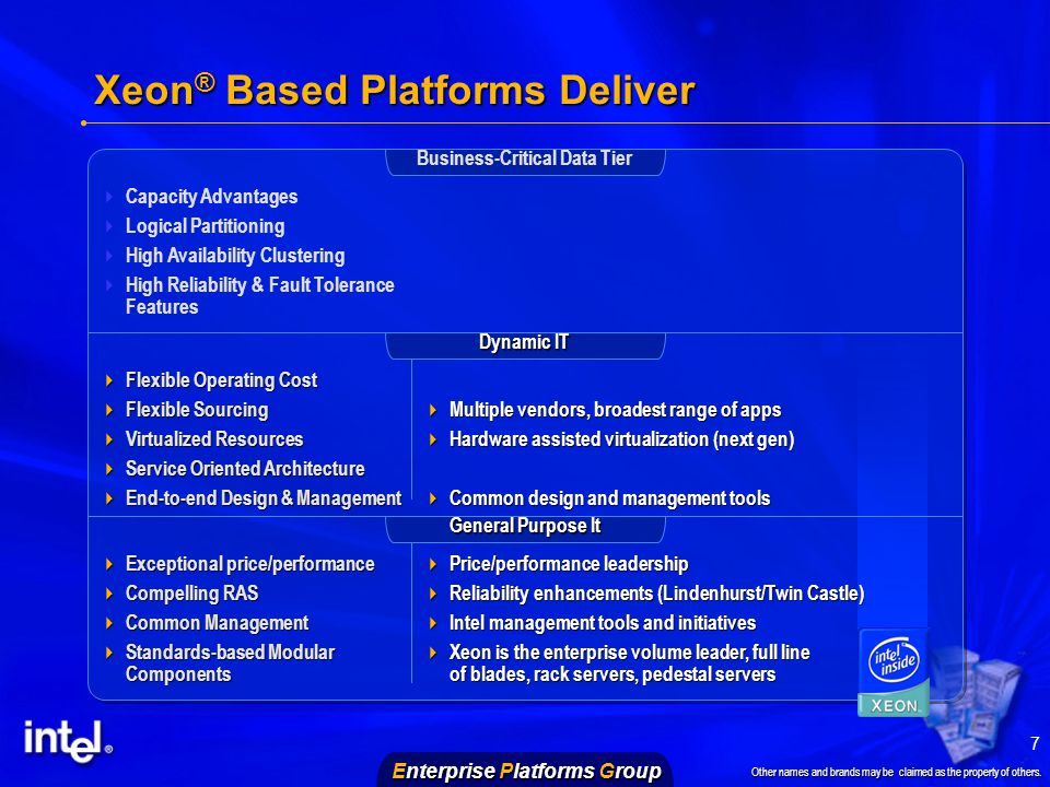 Enterprise Platforms Group Other names and brands may be claimed as the property of others.