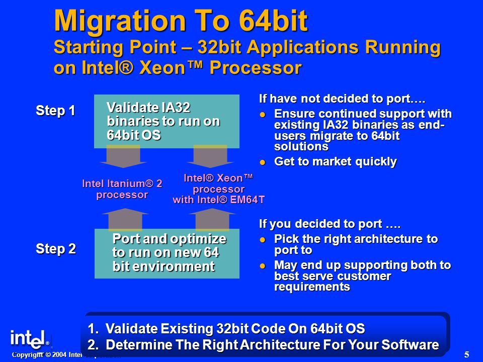 Copyright © 2004 Intel corporation 5 Migration To 64bit Starting Point – 32bit Applications Running on Intel® Xeon™ Processor If have not decided to port….