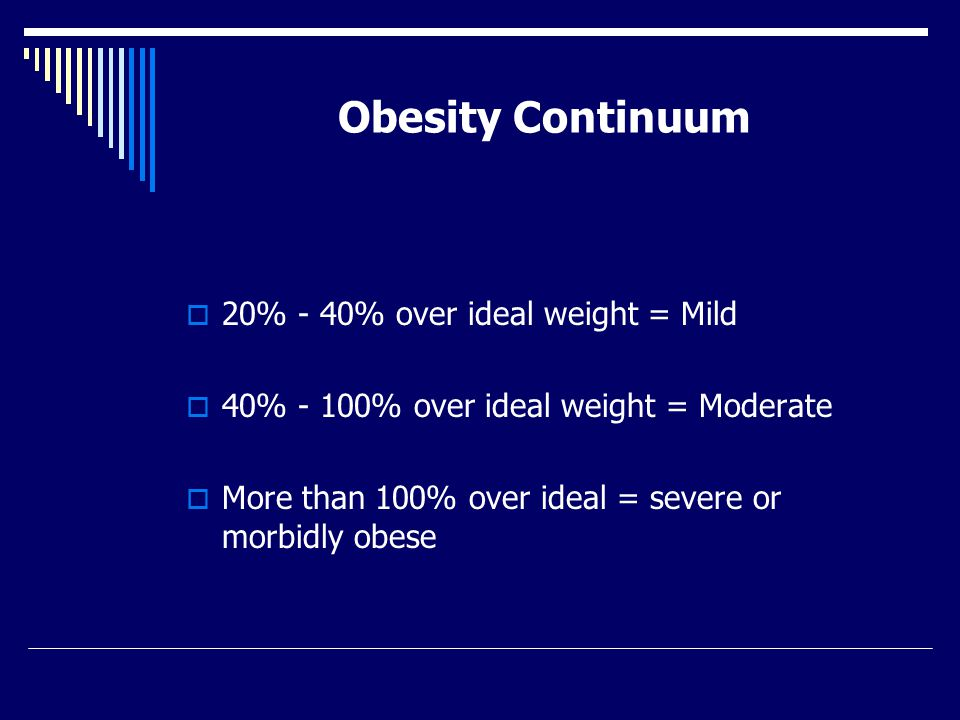 Obesity Continuum  20% - 40% over ideal weight = Mild  40% - 100% over ideal weight = Moderate  More than 100% over ideal = severe or morbidly obese