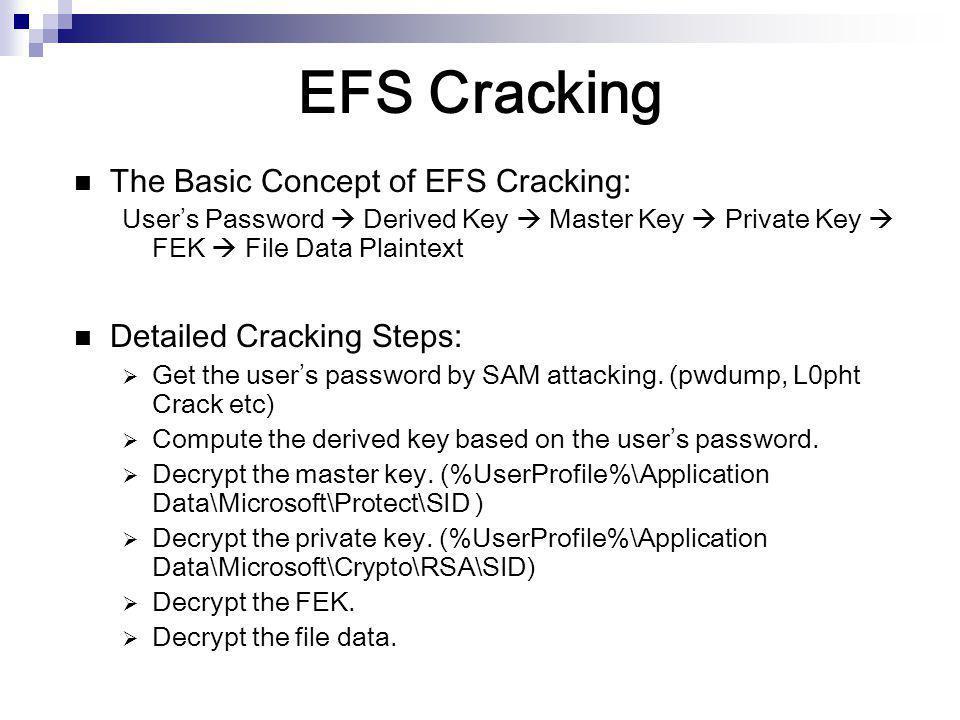 EFS Cracking The Basic Concept of EFS Cracking: User's Password  Derived Key  Master Key  Private Key  FEK  File Data Plaintext Detailed Cracking