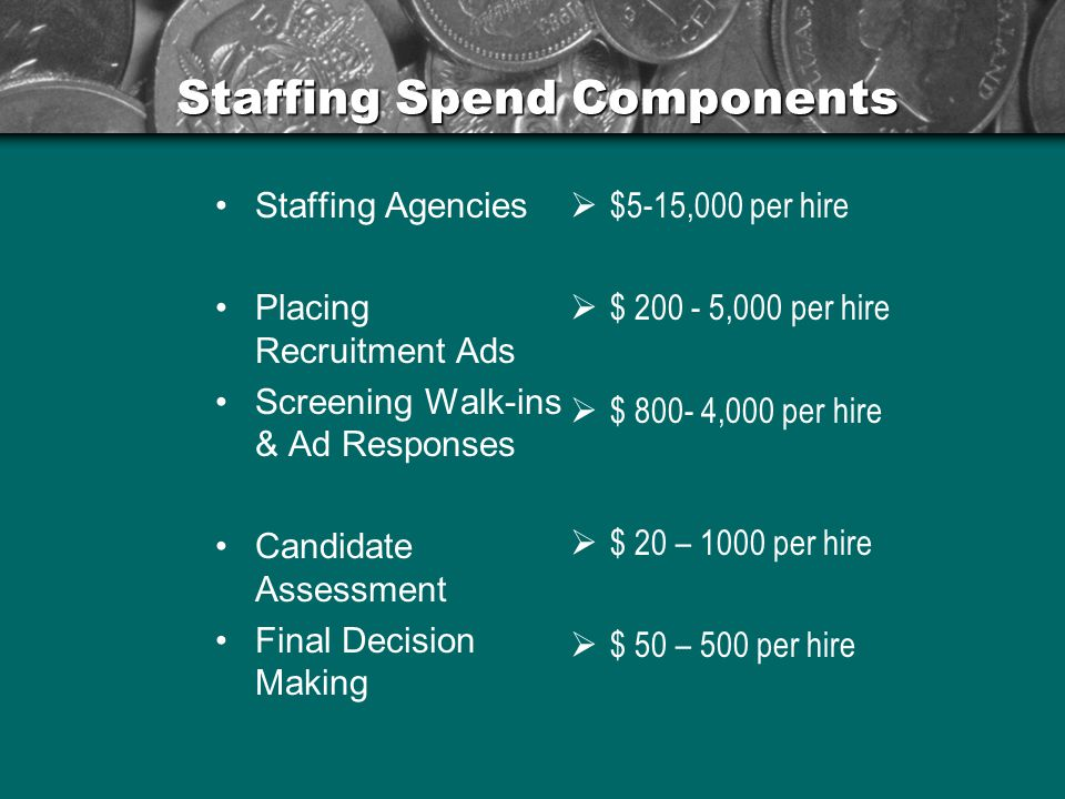 Staffing Spend Components Staffing Agencies Placing Recruitment Ads Screening Walk-ins & Ad Responses Candidate Assessment Final Decision Making  $5-15,000 per hire  $ 200 - 5,000 per hire  $ 800- 4,000 per hire  $ 20 – 1000 per hire  $ 50 – 500 per hire