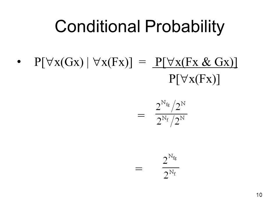 10 Conditional Probability P[  x(Gx) |  x(Fx)] = P[  x(Fx & Gx)] P[  x(Fx)] =