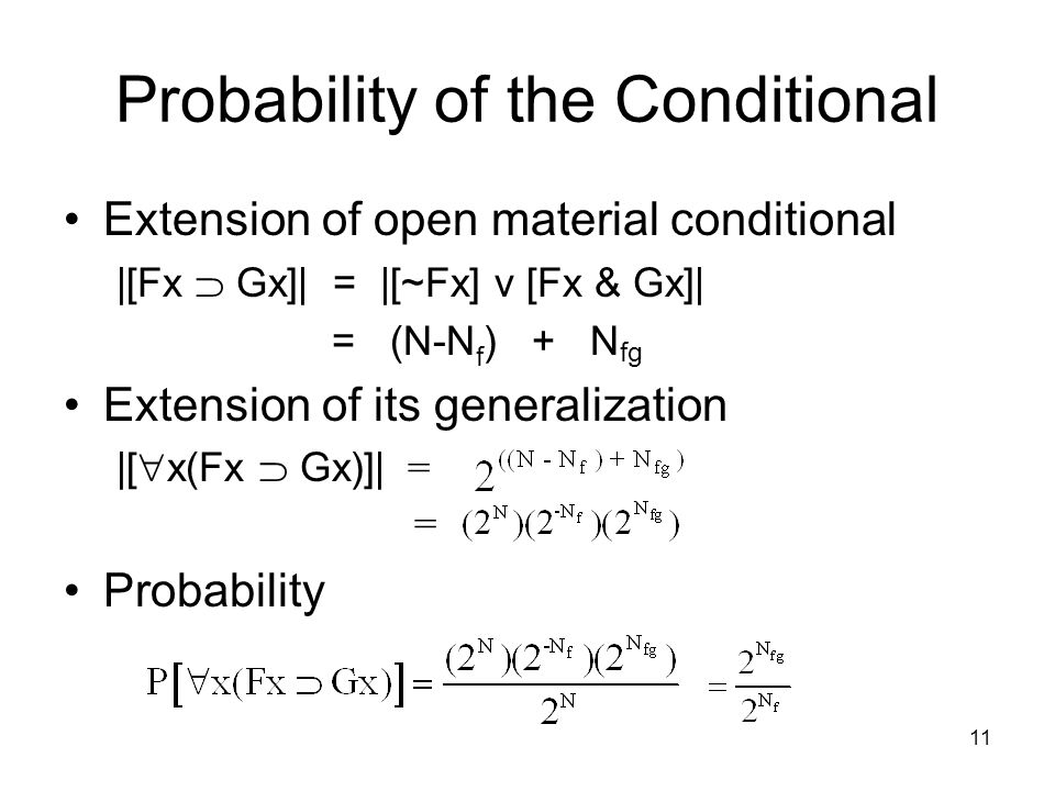 11 Probability of the Conditional Extension of open material conditional |[Fx  Gx]| = |[~Fx] v [Fx & Gx]| = (N-N f ) + N fg Extension of its generalization |[  x(Fx  Gx)]| = = Probability