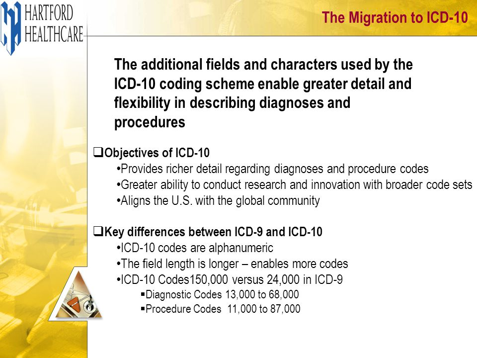The Migration to ICD-10 The additional fields and characters used by the ICD-10 coding scheme enable greater detail and flexibility in describing diagnoses and procedures  Objectives of ICD-10 Provides richer detail regarding diagnoses and procedure codes Greater ability to conduct research and innovation with broader code sets Aligns the U.S.