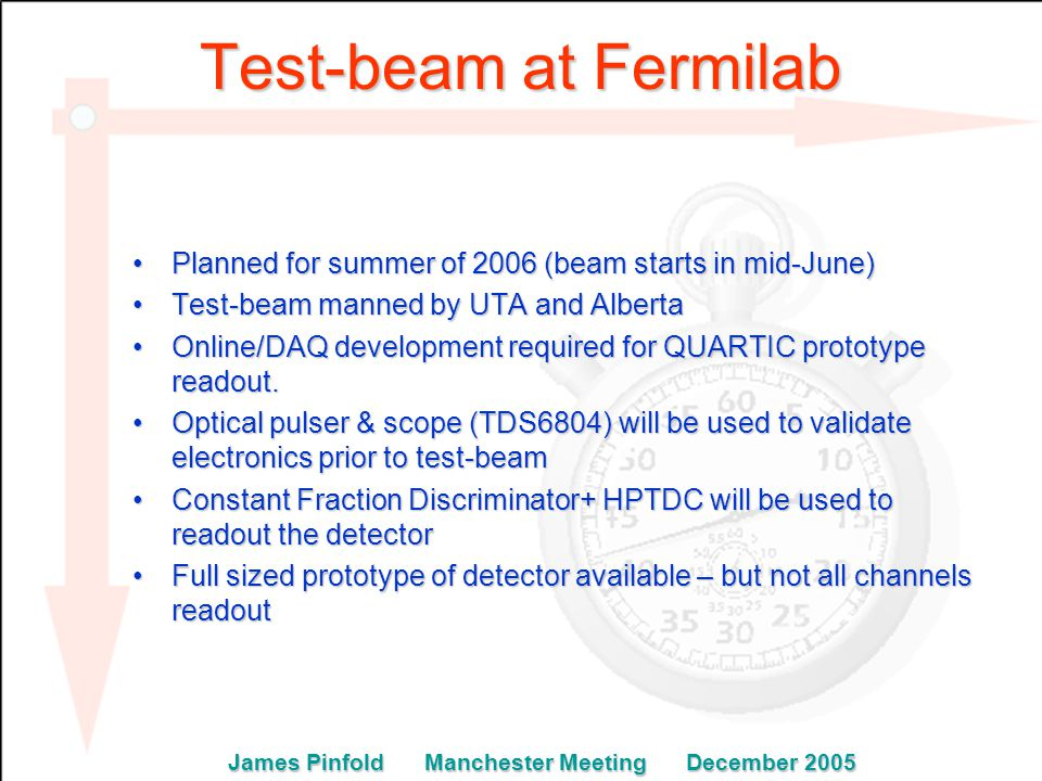 Test-beam at Fermilab Planned for summer of 2006 (beam starts in mid-June)Planned for summer of 2006 (beam starts in mid-June) Test-beam manned by UTA and AlbertaTest-beam manned by UTA and Alberta Online/DAQ development required for QUARTIC prototype readout.Online/DAQ development required for QUARTIC prototype readout.