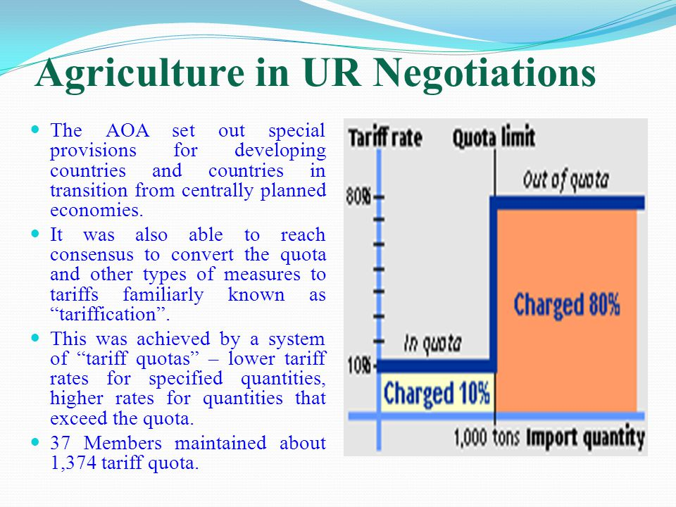 Agriculture in UR Negotiations The AOA set out special provisions for developing countries and countries in transition from centrally planned economies.