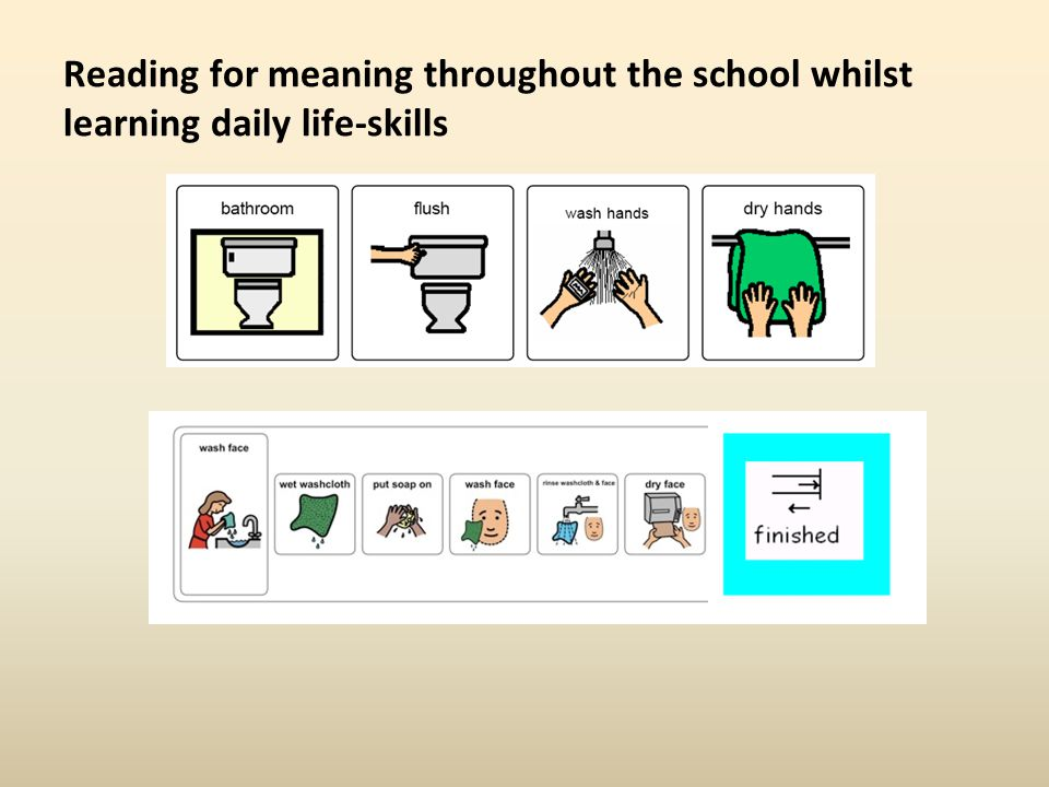 Reading for meaning throughout the school whilst learning daily life-skills