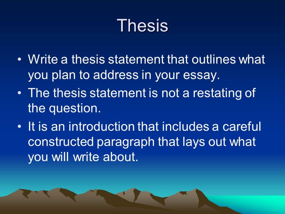 Essay Thesis Statement!! PLEASE HELP!?