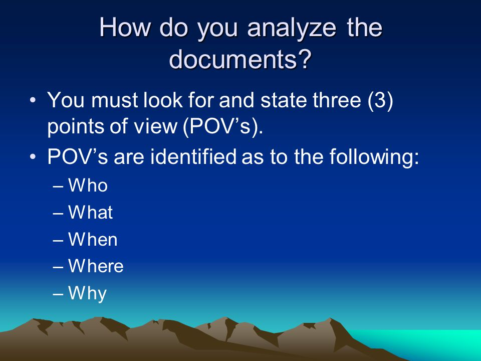 Document POV's What is the main idea or topic being said in the document.