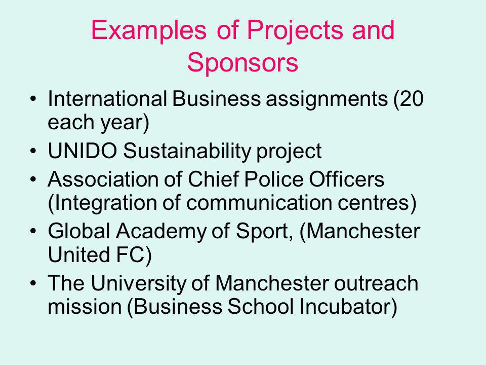 Examples of Projects and Sponsors International Business assignments (20 each year) UNIDO Sustainability project Association of Chief Police Officers (Integration of communication centres) Global Academy of Sport, (Manchester United FC) The University of Manchester outreach mission (Business School Incubator)
