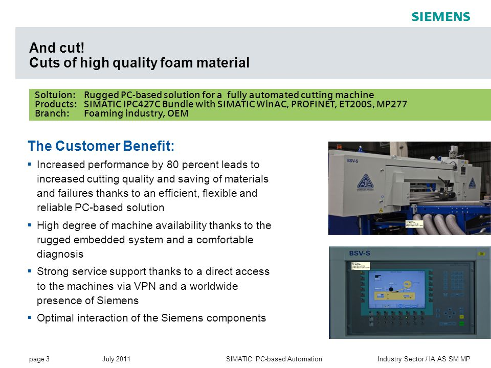 page 3 July 2011 Industry Sector / IA AS SM MPSIMATIC PC-based Automation s Soltuion: Rugged PC-based solution for a fully automated cutting machine Products: SIMATIC IPC427C Bundle with SIMATIC WinAC, PROFINET, ET200S, MP277 Branch:Foaming industry, OEM The Customer Benefit:  Increased performance by 80 percent leads to increased cutting quality and saving of materials and failures thanks to an efficient, flexible and reliable PC-based solution  High degree of machine availability thanks to the rugged embedded system and a comfortable diagnosis  Strong service support thanks to a direct access to the machines via VPN and a worldwide presence of Siemens  Optimal interaction of the Siemens components And cut.