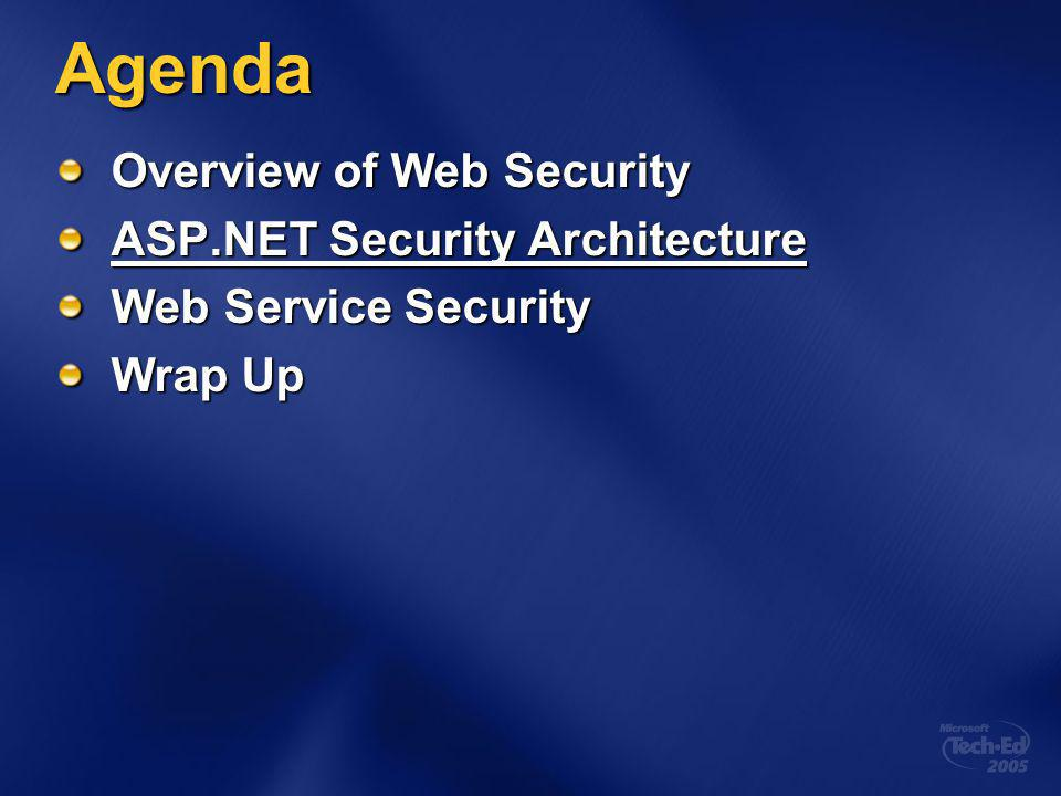 Agenda Overview of Web Security ASP.NET Security Architecture Web Service Security Wrap Up