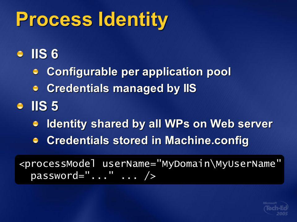 Process Identity IIS 6 Configurable per application pool Credentials managed by IIS IIS 5 Identity shared by all WPs on Web server Credentials stored in Machine.config <processModel userName= MyDomain\MyUserName password= ... ...